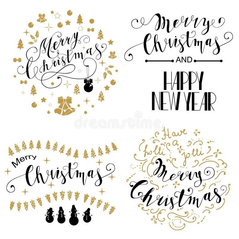 Ensemble de conception de lettrage de Joyeux Noël Illustration de vecteur illustration stock
