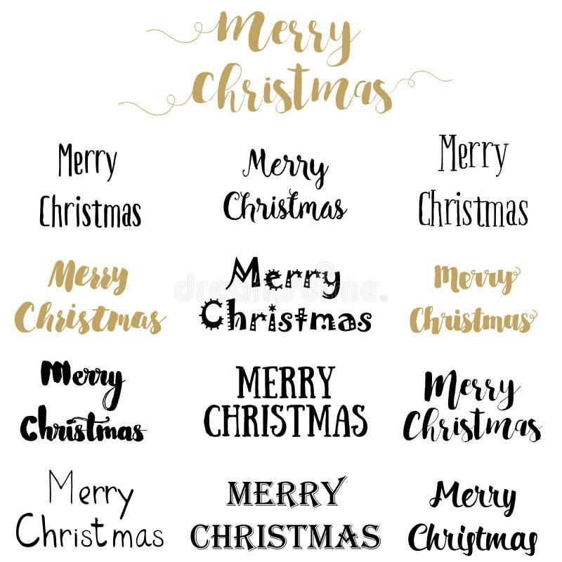 Ensemble de conception de lettrage de Joyeux Noël Illustration EPS10 de vecteur illustration de vecteur