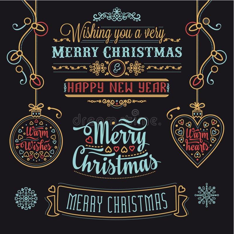Ensemble de conception de lettrage de Noël image stock