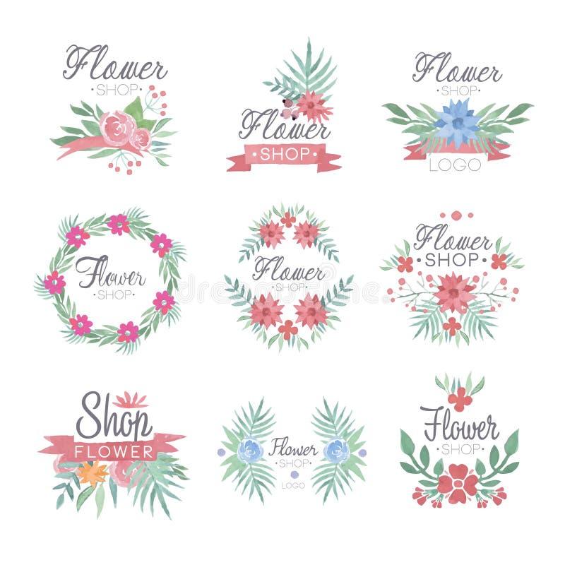 Ensemble de conception de logo de fleuriste d'illustrations colorées de vecteur d'aquarelle illustration de vecteur