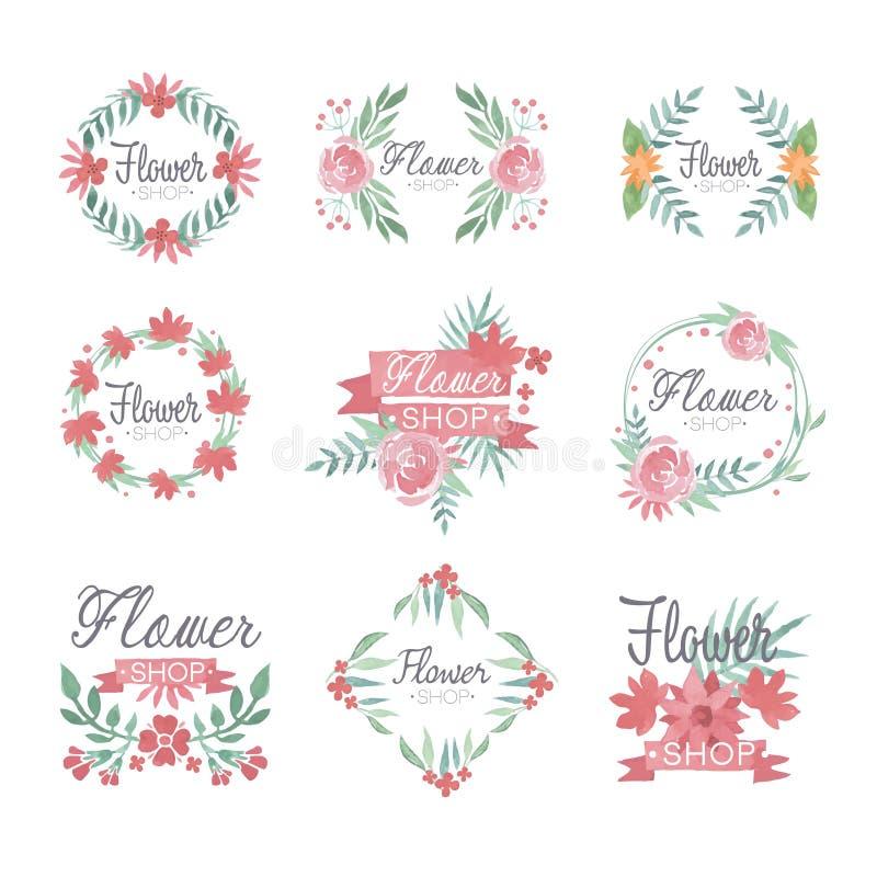Ensemble de conception de logo de fleuriste, illustrations colorées de vecteur d'aquarelle illustration de vecteur