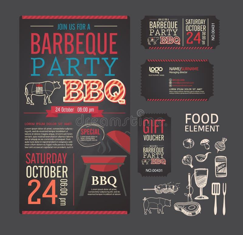 Ensemble de conception de menu de calibre de BBQ de partie de barbecue illustration de vecteur