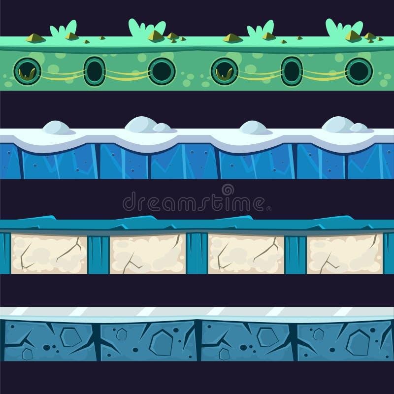Ensemble de conception de plancher de niveau de Platformer de l'eau et de glace illustration stock