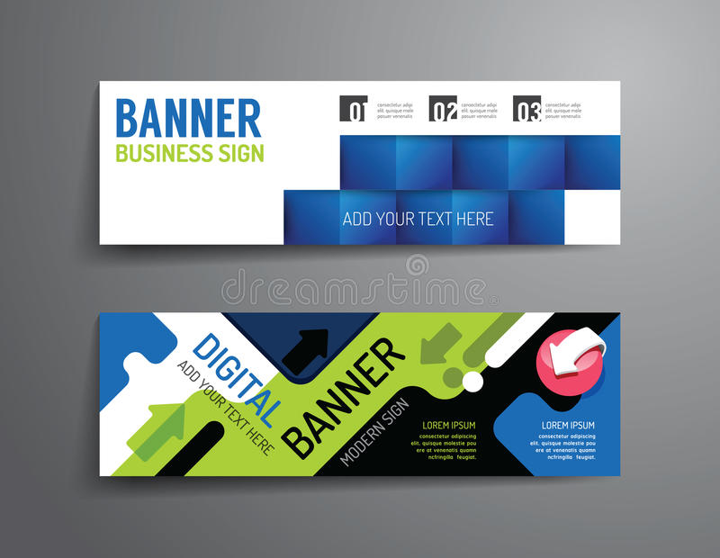 Ensemble de conception de vecteur de calibre de bannière Disposition de dessin ou de site Web illustration libre de droits