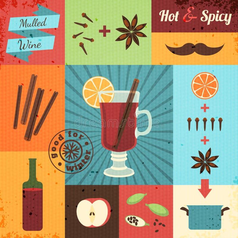 Ensemble de conception de vin chaud illustration stock