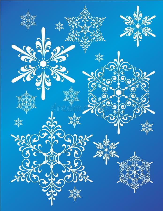 Ensemble de conception de flocon de neige d'imagination illustration libre de droits