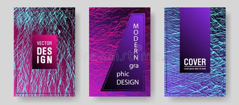 Ensemble de conception graphique de vecteur d'affiche d'insecte Textures pourpres bleues de synthwave de rose Texture onduleuse d illustration stock