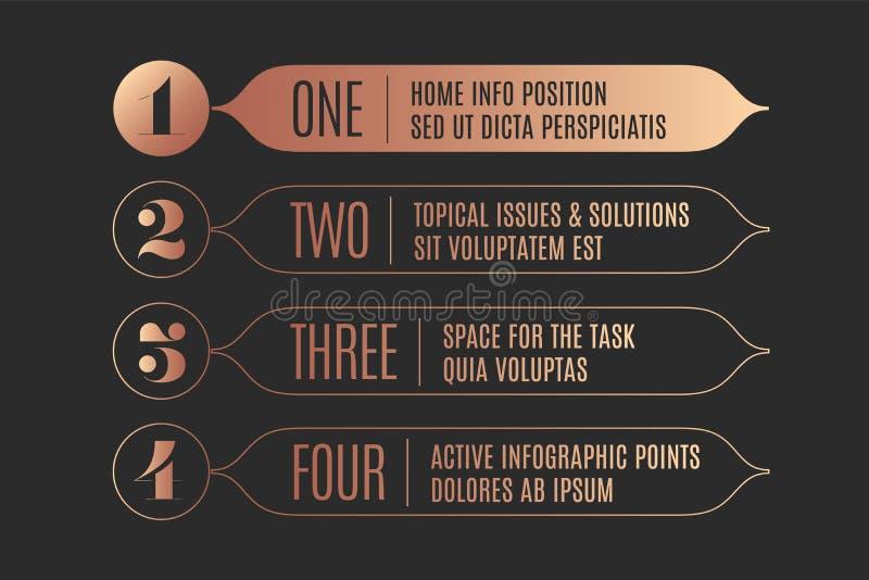 Ensemble de conception infographic, de flèches de vintage, de bannières, de nombres et de texte illustration libre de droits