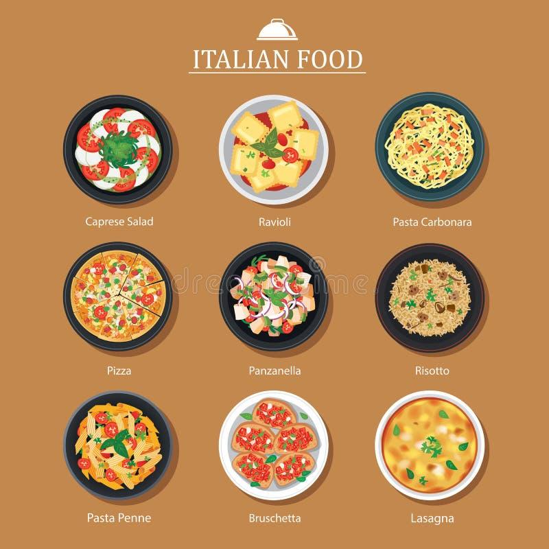 Ensemble de conception italienne de nourriture Fond d'illustration de vecteur illustration de vecteur