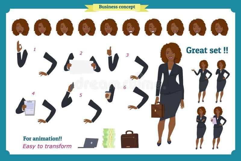 Ensemble de conception de personnages noire de femme d'affaires Avant, côté, caractère animé de vue arrière Caractère de fille d' illustration stock