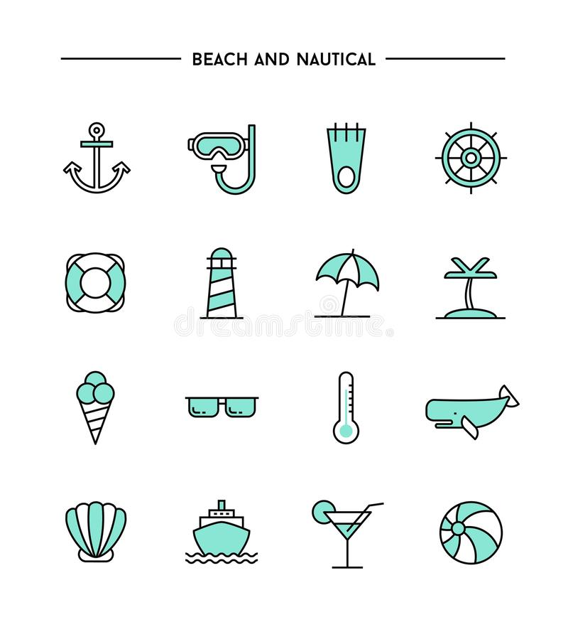 Ensemble de conception plate, de ligne mince plage et d'icônes nautiques illustration de vecteur
