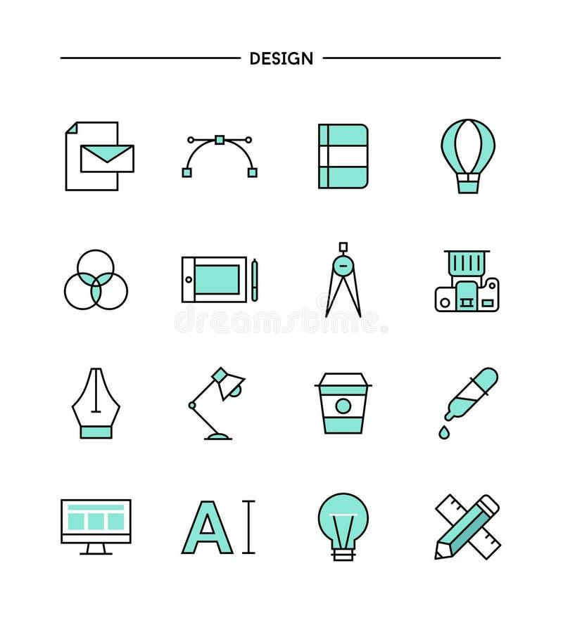 Ensemble de conception plate, icônes d'outils de ligne concepteur mince illustration stock