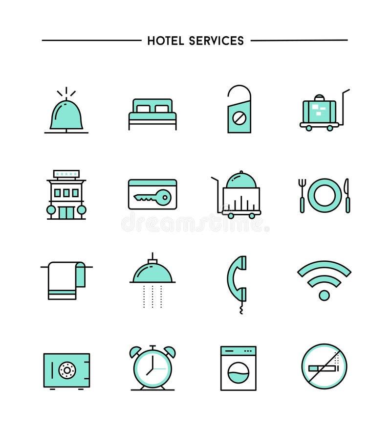 Ensemble de conception plate, ligne mince icônes de services hôteliers illustration libre de droits