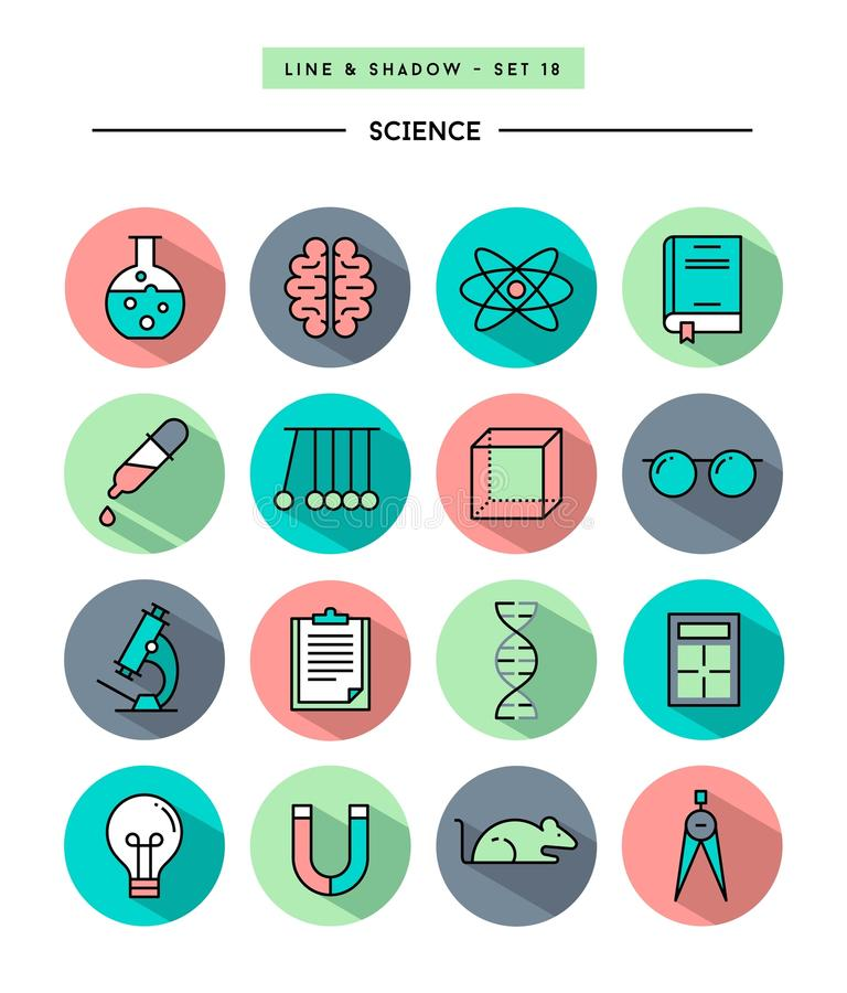 Ensemble de conception plate, longue ombre, ligne mince icônes de la science illustration stock