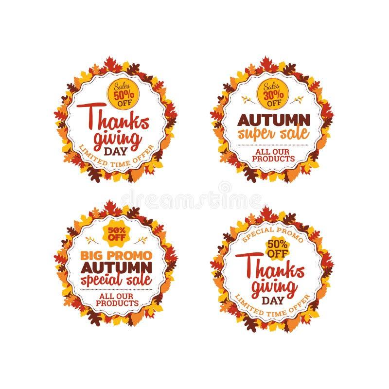 Ensemble de conception superbe de vecteur d'autocollant d'insigne de vente de thanksgiving insigne de typographie avec l'ornement illustration libre de droits