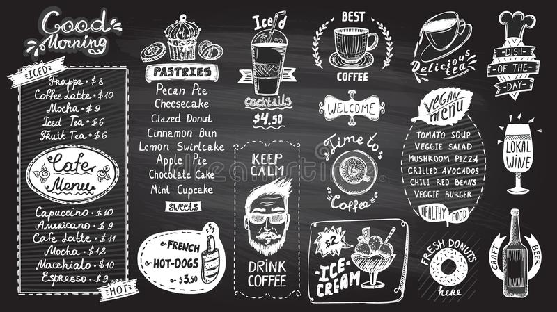 Ensemble de conception de tableau de menu de café, symboles tirés par la main illustration de symbole graphique à traits avec des illustration stock