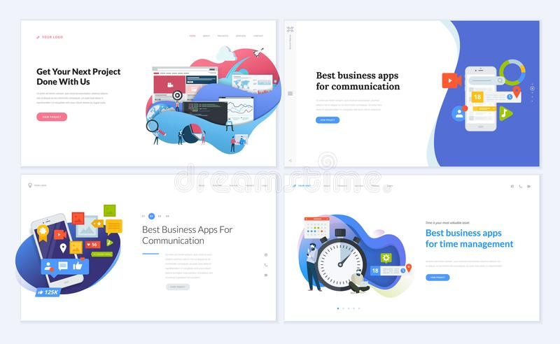 Ensemble de conceptions créatives de calibre de site Web illustration libre de droits