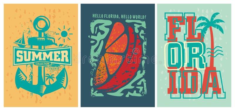 Ensemble de conceptions d'habillement d'été de plage de la Floride illustration stock