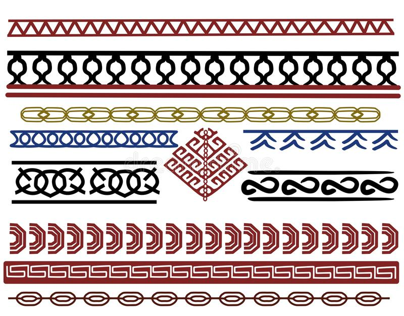 Ensemble de conceptions de frontière de Viking illustration stock