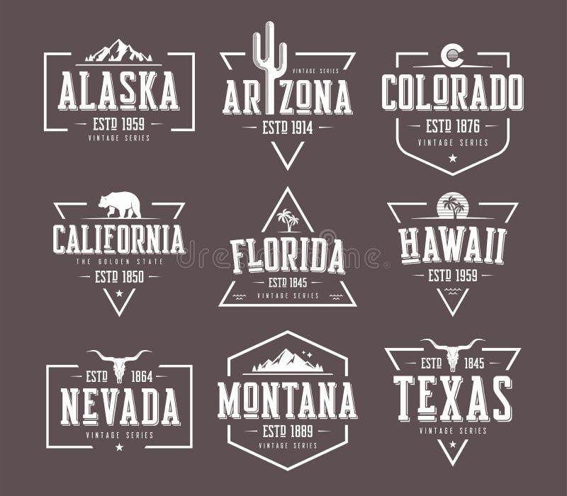 Ensemble de conceptions de T-shirt et d'habillement de vecteur de vintage d'états d'USA, mauvais illustration stock