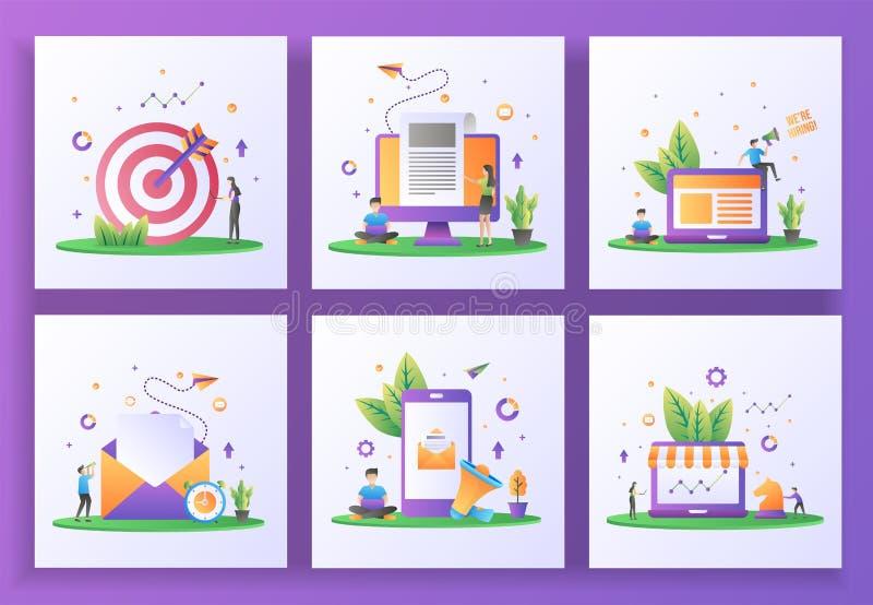 Ensemble de concepts de conception plane Ciblage, Nouvelles de rupture, Nous embauchons, Envoyez du courrier, Marketing numérique illustration libre de droits