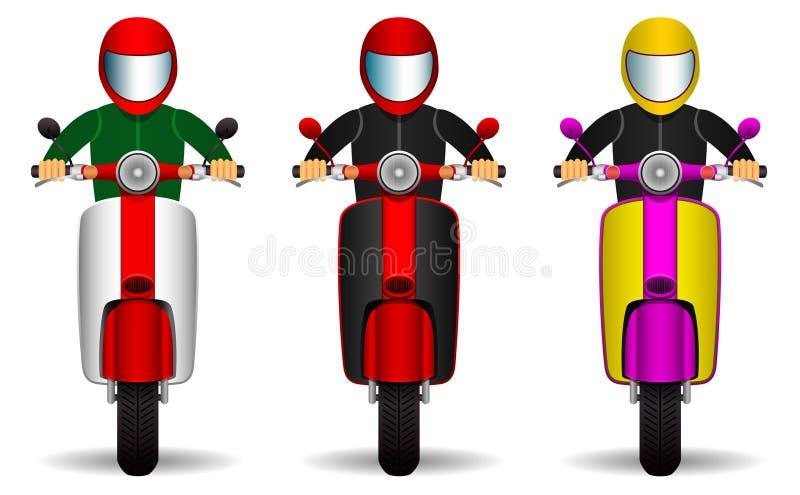 Ensemble de conducteurs de scooter cyclistes et leurs scooters de différentes couleurs Front View Objets d'isolement sur le fond  illustration libre de droits