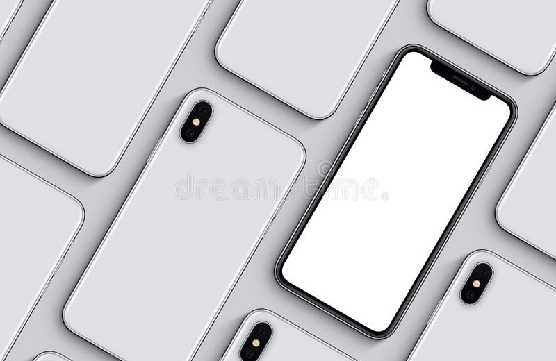 Ensemble de configuration plate de vue supérieure d'arrières avant et de modèle de maquette de smartphones sur le fond gris illustration de vecteur