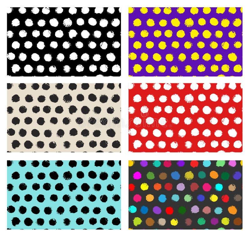 Ensemble de configuration sans joint Retrait de dessin à main levée Point de polka élégant Fond abstrait avec les courses rondes  illustration libre de droits