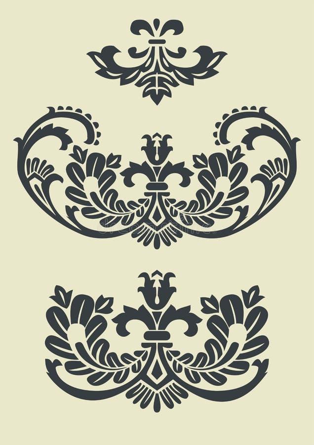 Ensemble de configurations baroques de vecteur pour la conception illustration stock
