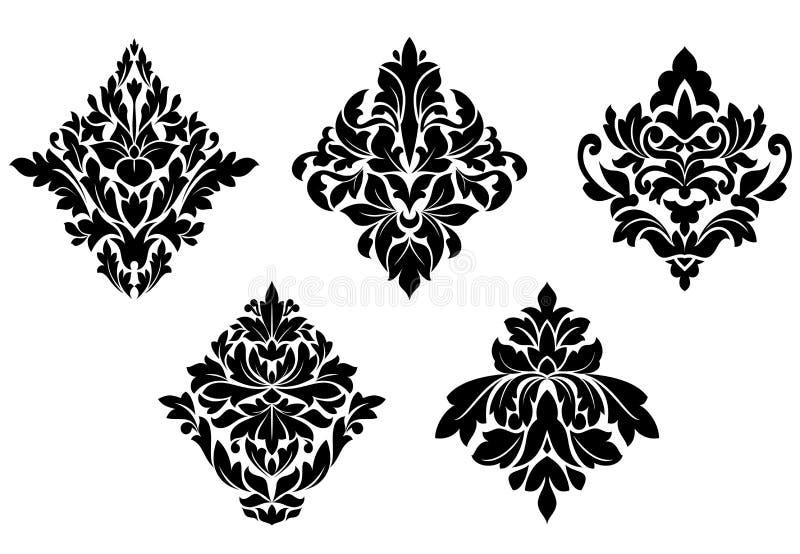 Ensemble de configurations florales de cru illustration libre de droits