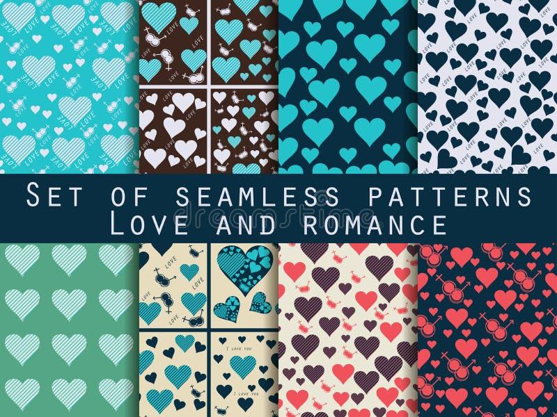 Ensemble de configurations sans joint avec des coeurs Le jour de Valentine Patt d'amour illustration libre de droits