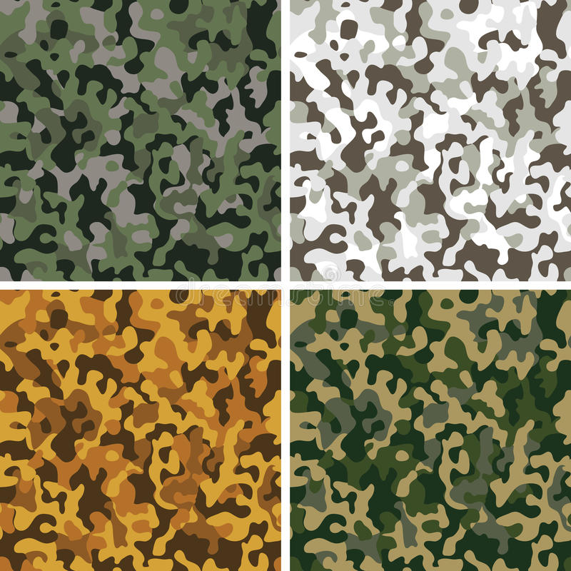 Ensemble de configurations sans joint de camouflage illustration stock