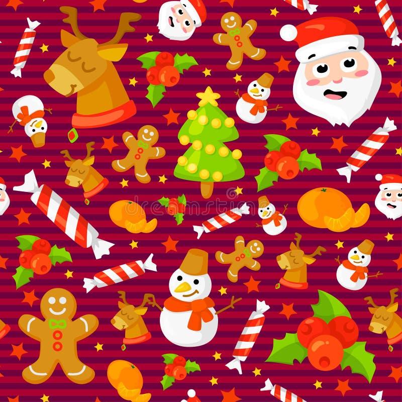 Ensemble de configurations sans joint de Noël Milieux avec des symboles vacances et des éléments de célébration de famille d'icôn illustration de vecteur