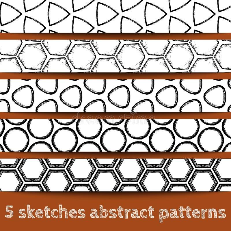 Ensemble de configurations sans joint géométriques de croquis illustration stock