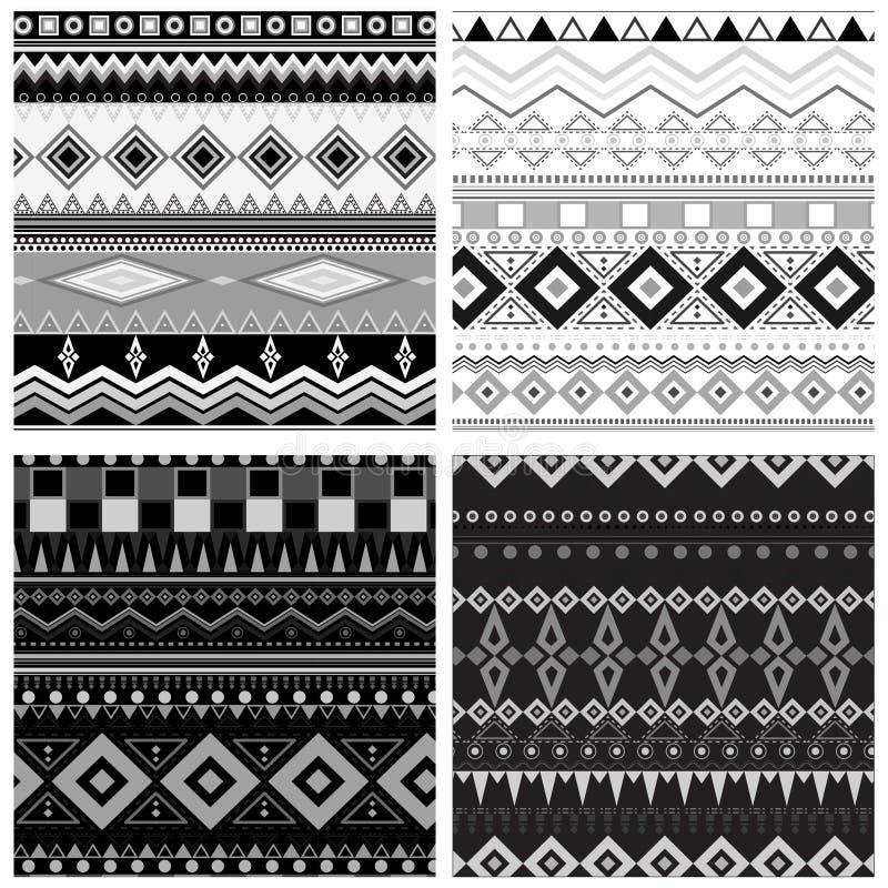 Ensemble de configurations sans joint géométriques noires et blanches illustration libre de droits