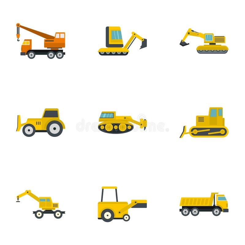 Ensemble de construction d'icône de véhicule lourd, style plat illustration libre de droits