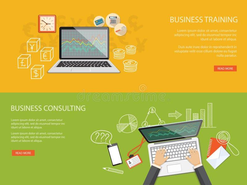 Ensemble de contenu pour le site Web de la formation et de la consultation d'affaires illustration libre de droits