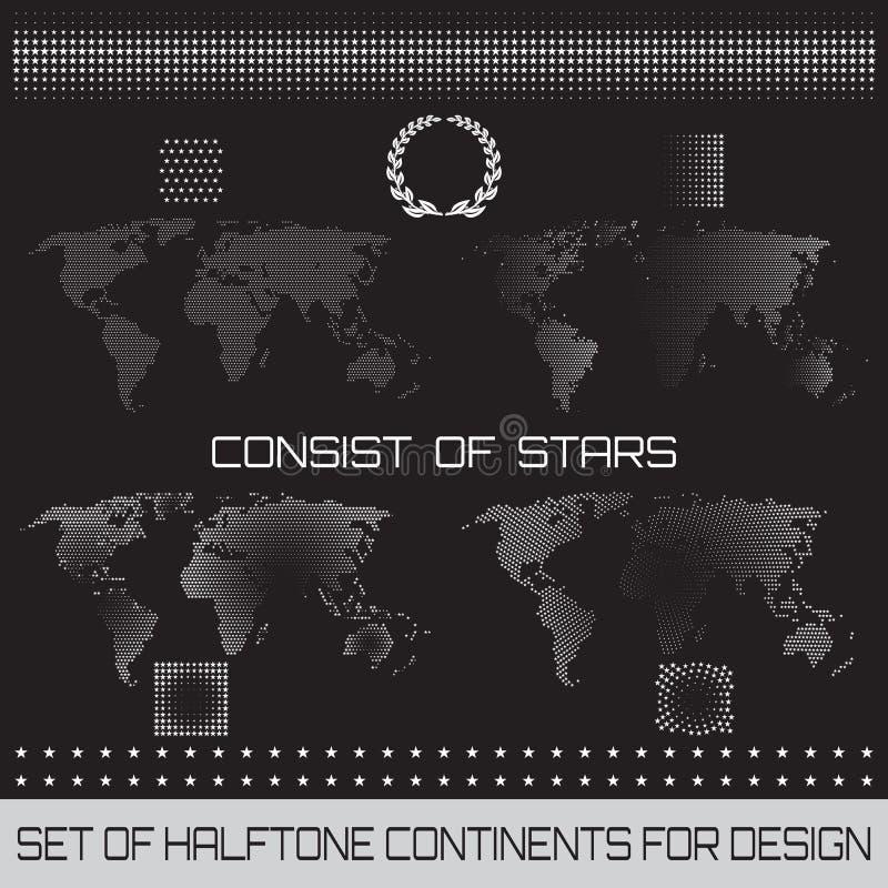 Ensemble de continents tramés pour la conception illustration de vecteur