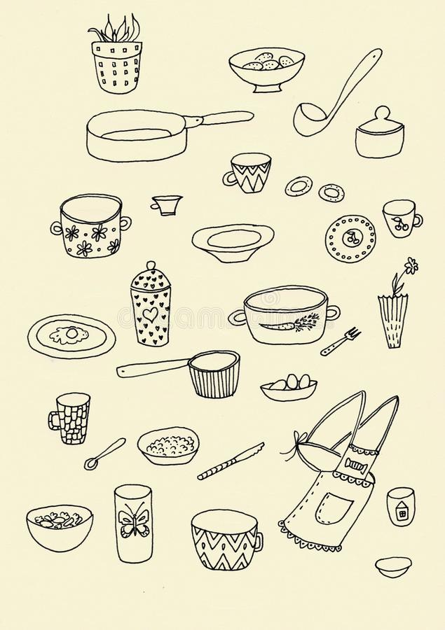 Ensemble de contour d'ustensile de cuisine de griffonnage dans le noir d'isolement au-dessus du fond blanc images libres de droits