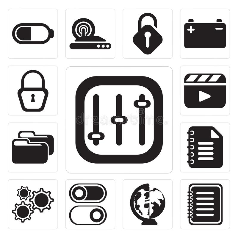 Ensemble de contrôles, note, mondiale, commutateur, arrangements, bloc-notes, Fol illustration libre de droits