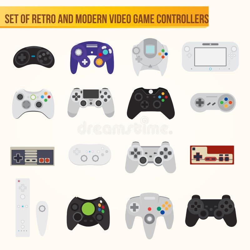 Ensemble de contrôleurs plats de jeu vidéo de vecteur illustration libre de droits