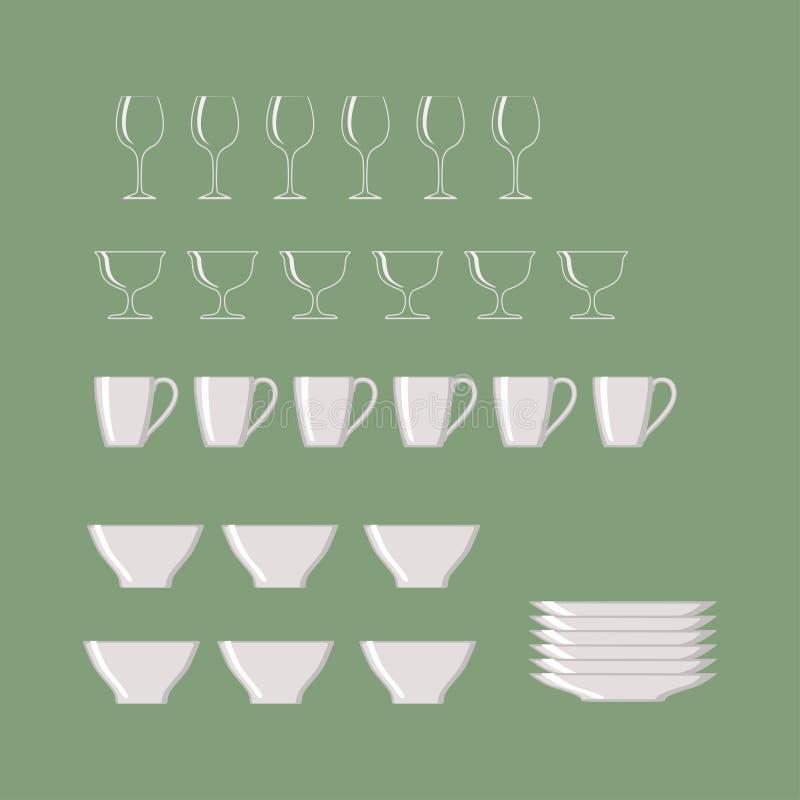 Ensemble de Cookware d'isolement sur le fond vert illustration stock