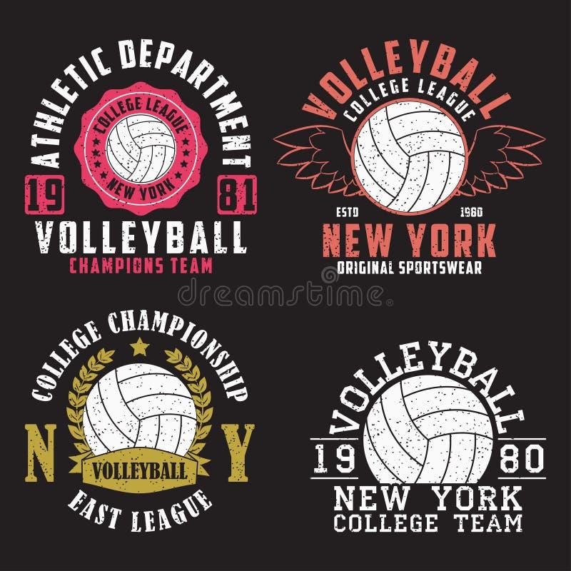 Ensemble de copie de New York de volleyball pour l'habillement avec la boule Collection d'emblème de typographie de vintage pour  illustration de vecteur