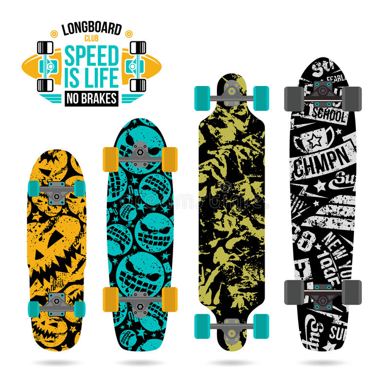 Ensemble de copies sur le longboard illustration de vecteur