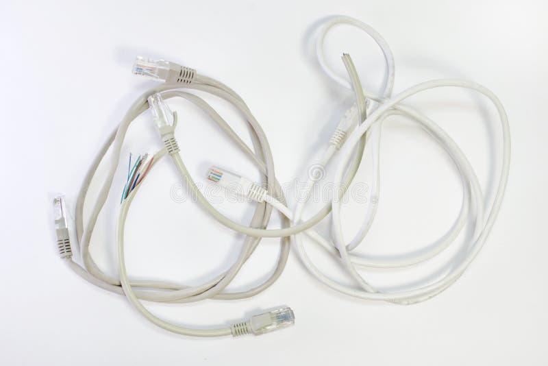 Ensemble de cordes de correction avec l'isolation différente de fil de dessus de couleur, wou photographie stock