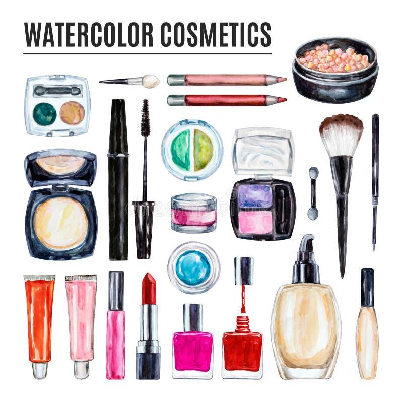 Ensemble de cosmétique décoratif de diverse aquarelle Produits de maquillage photo stock
