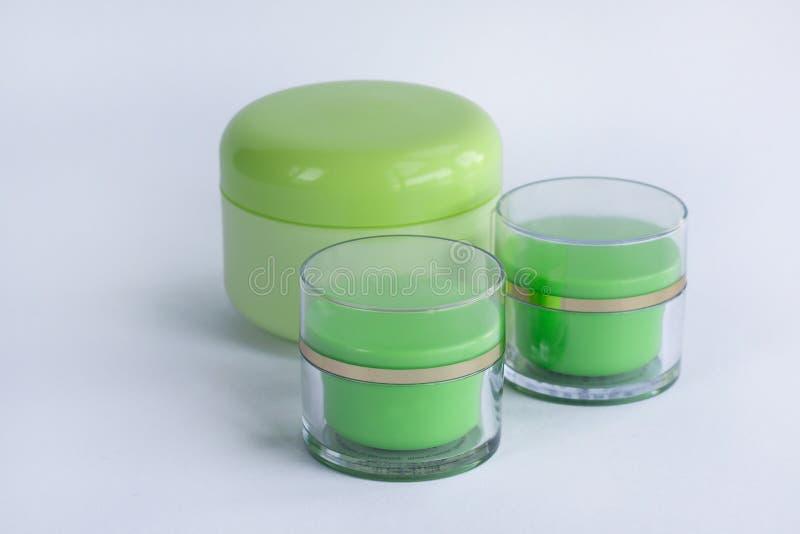 Ensemble de cosmétique de 3 bouteilles crèmes image libre de droits
