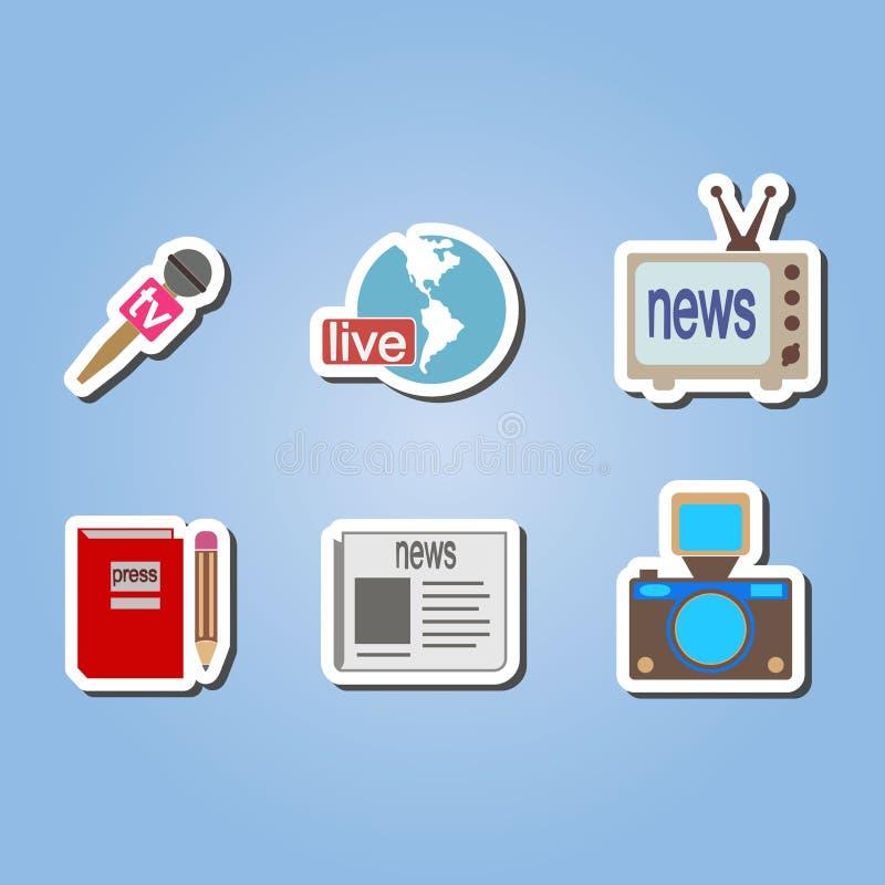 Ensemble de couleur avec des icônes de journalisme illustration libre de droits