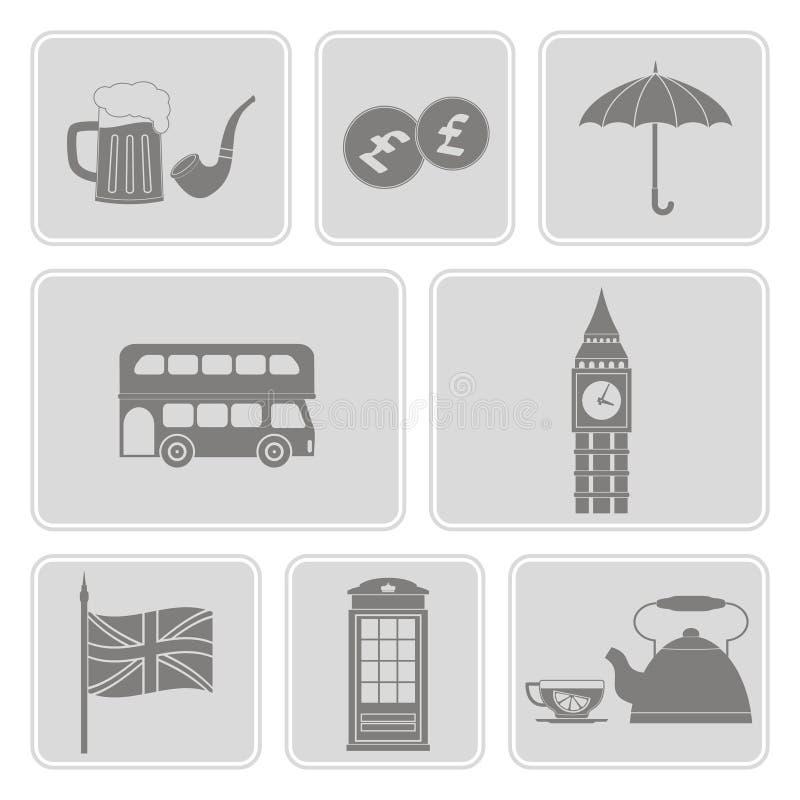 Ensemble de couleur avec des icônes de l'Angleterre illustration stock