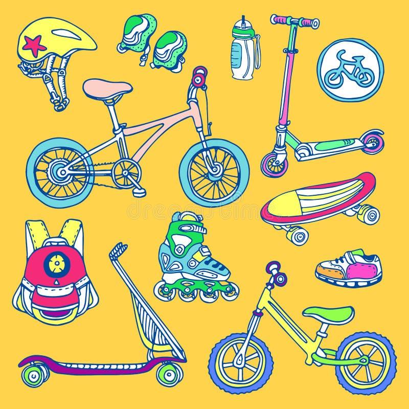 Ensemble de couleur de marchandises sportives pour des enfants Croquis de vecteur illustration libre de droits